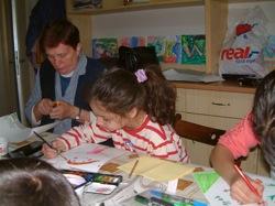 An art class with the children