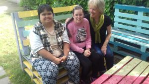 Sitting in the garden at the Clever Hands Day care centre