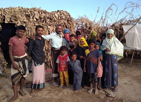A family in Abyan refugee camp near Aden